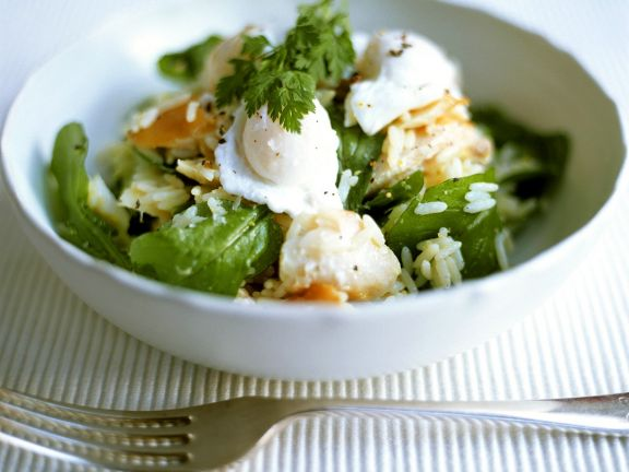 Rice with Fish, Spinach and Egg