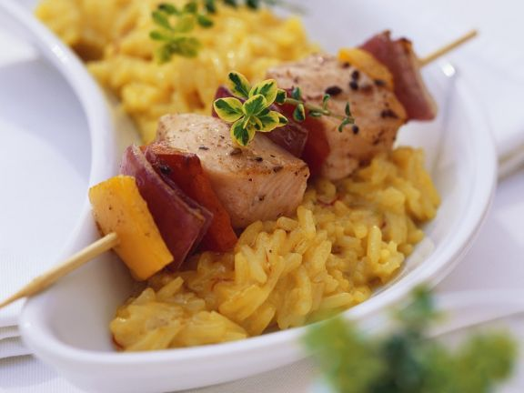 Risotto with Salmon Skewers