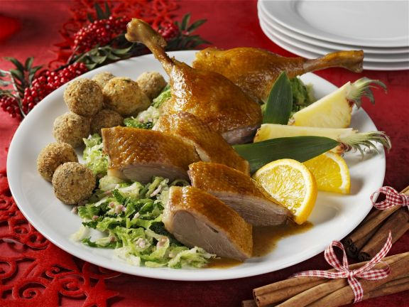 Roast Christmas Goose with Cabbage and Dumplings
