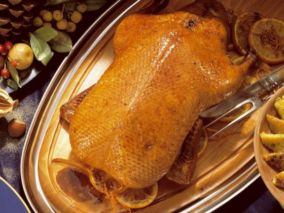 Roast Duck with Orange Sauce and Vegetables