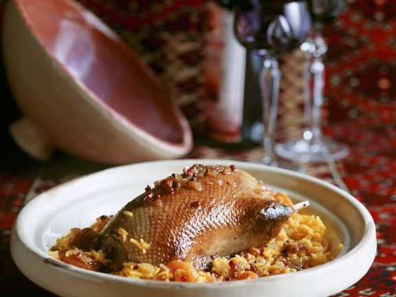 Roast Duck with Rice and Dried Fruit Stuffing
