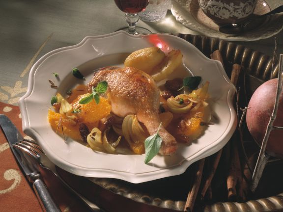 Roast Goose Legs with Oranges and Onions