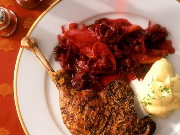 Roast Goose Legs with Pear and Red Cabbage Stew