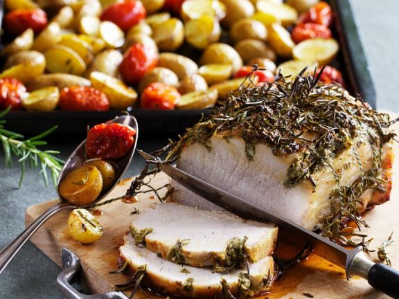 Roast Pork Loin with Herbs and Potatoes