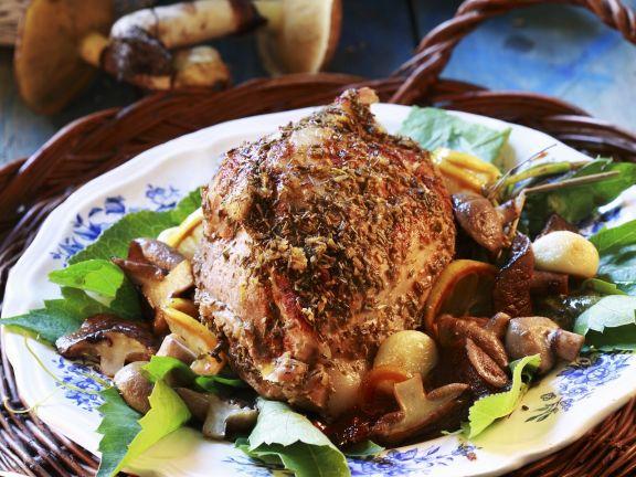 Roast Pork with Mushrooms, Lemon and Garlic