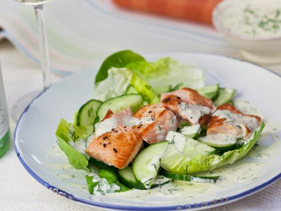 Roast Salmon Salad with Cucumber and Dill