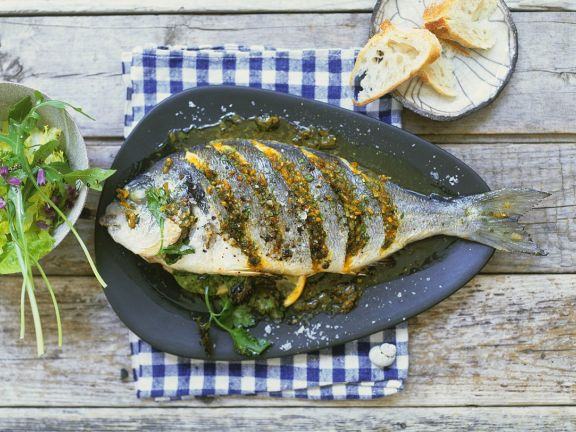 Roast Sea Bream with Lemon, Garlic and Parsley