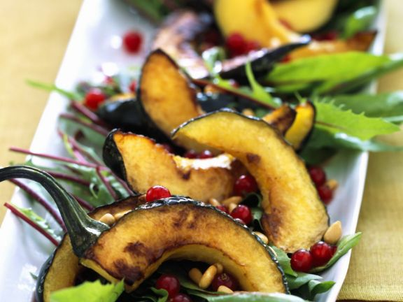 Roast Squash Slices with Greens and Pomegranate