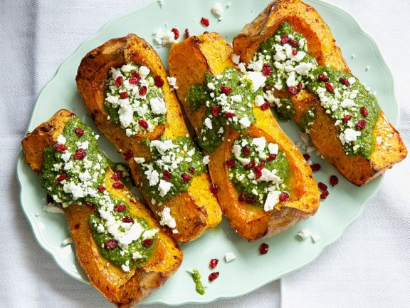 Roast Squash with Feta and Pomegranate