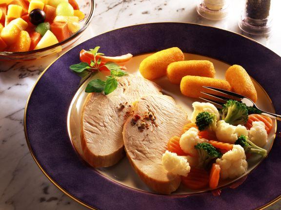 Roast Turkey with Broccoli, Cauliflower and Potato Croquettes