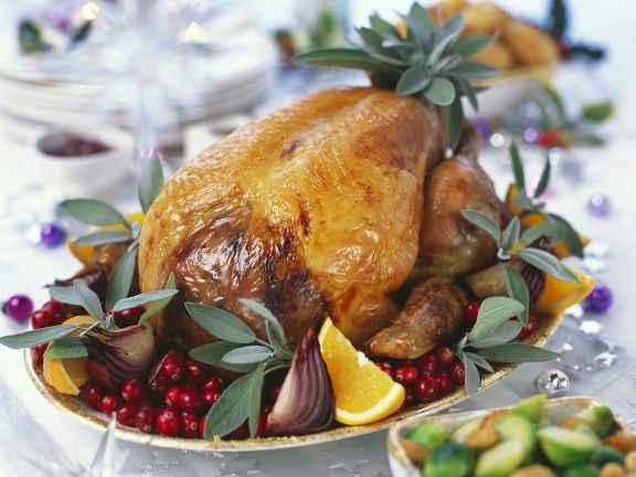 Roast Turkey with Cranberries, Oranges and Sage