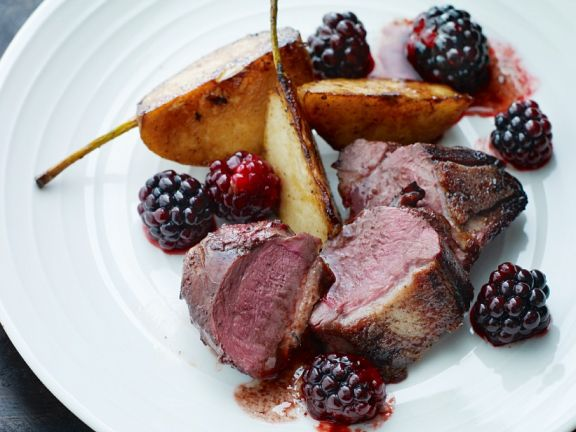 Roast Wild Duck Breast with Blackberries and Pears