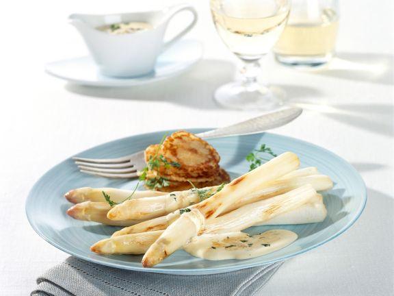 Roasted Asparagus with Parmesan Sabayon and Mini Pancakes
