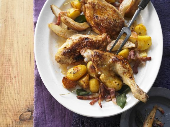 Roasted Chicken with Potatoes and Baked Pears