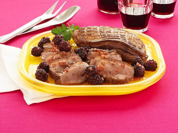 Roasted Duck Breasts with Blackberry Sauce