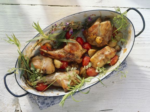 Roasted Rabbit with Tomatoes and Herbs