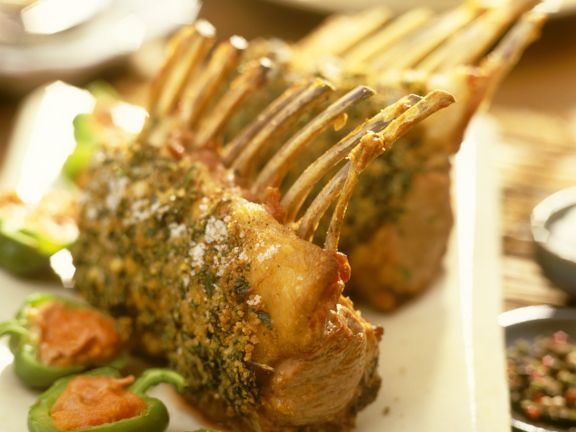 Roasted Rack of Lamb with Stuffed Bell Peppers