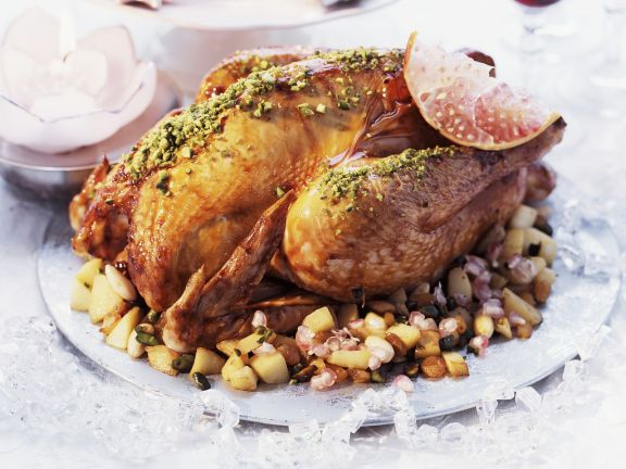 Roasted Turkey with Pistachios and Pomegranate