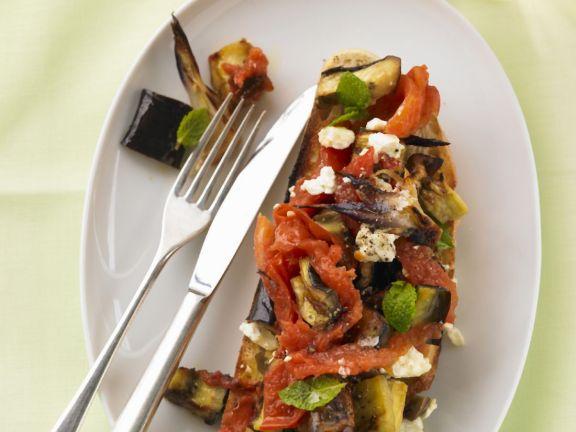 Roasted Veggie and Feta Bruschetta