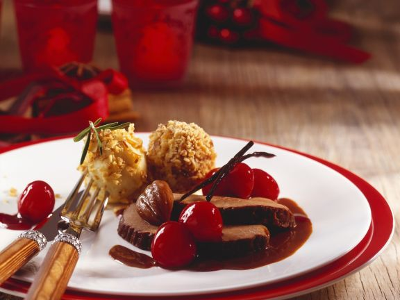 Roasted Venison with Cherry Sauce and Chestnut Dumplings