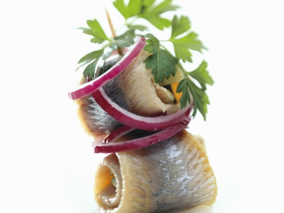 Rollmops with Onions (Pickled Herring Skewers)