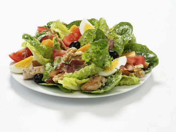 Romaine Lettuce with Egg, Olives, Nuts and Chicken Strips