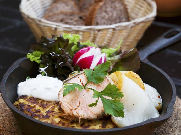 Rösti with Salmon and Smoked Halibut