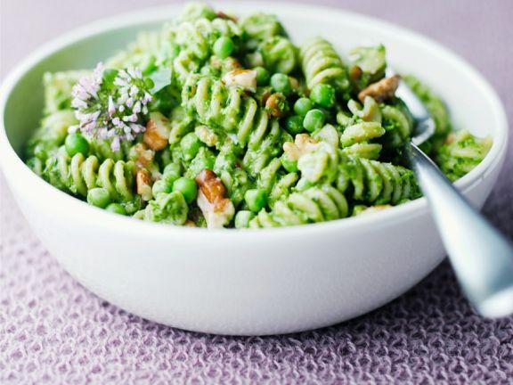 Rotini with Peas and Walnut Pesto