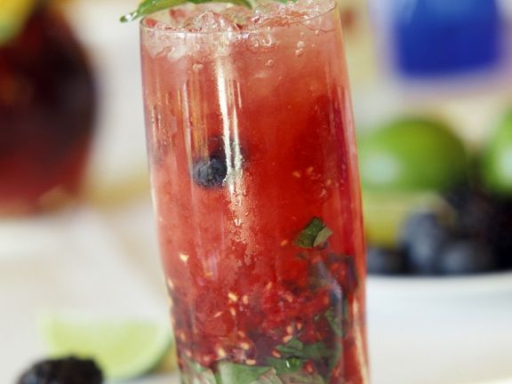 Rum, Berry, and Mint Cocktail
