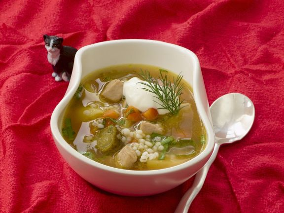 Russian Veal and Cucumber Soup