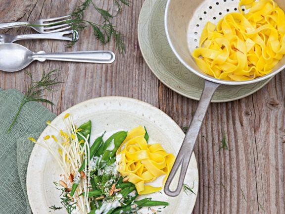 Saffron Pasta with Green Coconut Vegetables