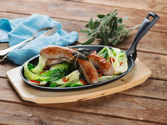 Sage Sausages with Bok Choy