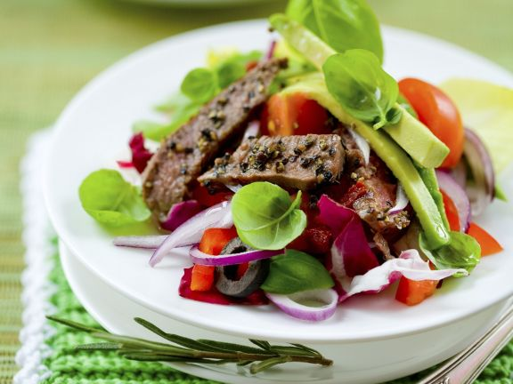 Salad with Beef and Avocado