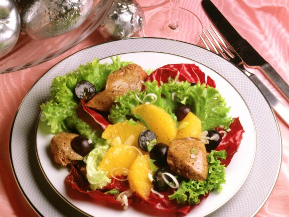 Salad with Duck Livers and Orange Fillets