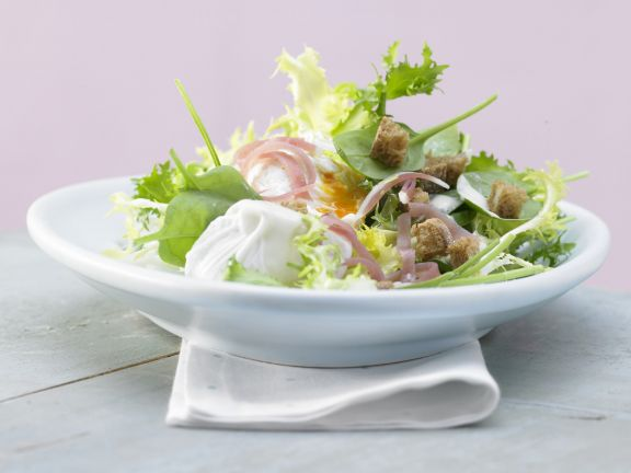 Salad with Poached Egg and Smoked Ham