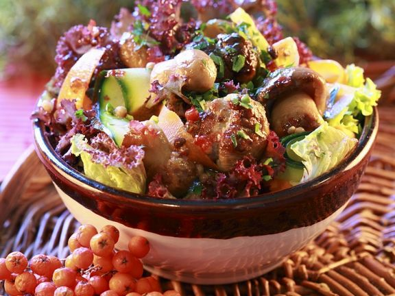 Salad with Vegetables and Mushrooms