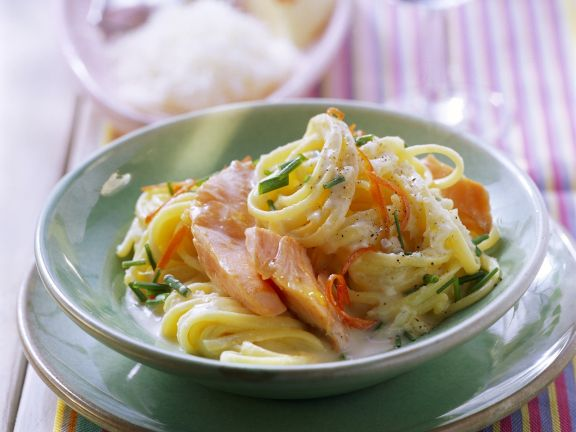 Salmon and Chive Linguine