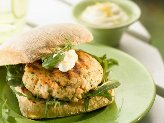 Salmon Burgers with Arugula