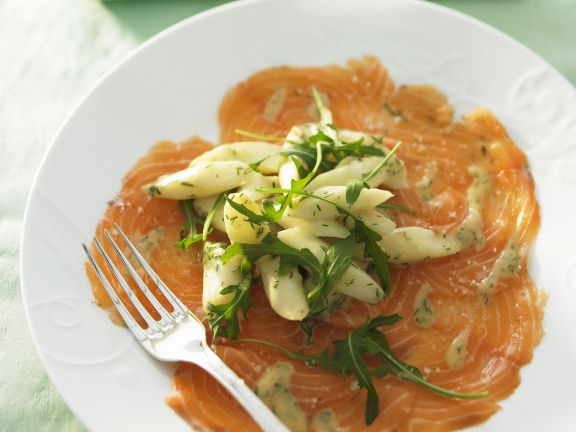 Salmon Carpaccio with Asparagus Salad and Arugula
