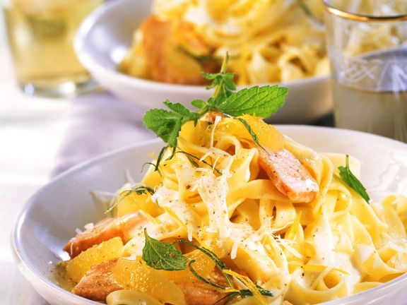 Salmon in Lemon Sauce with Pasta