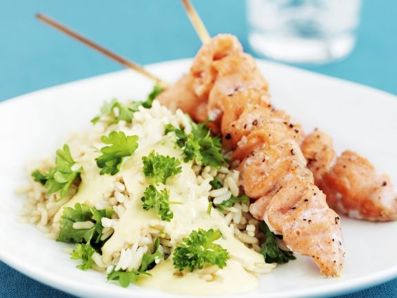 Salmon Skewers with Rice