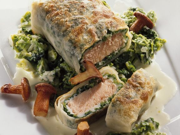Salmon Strudel with Savoy Cabbage