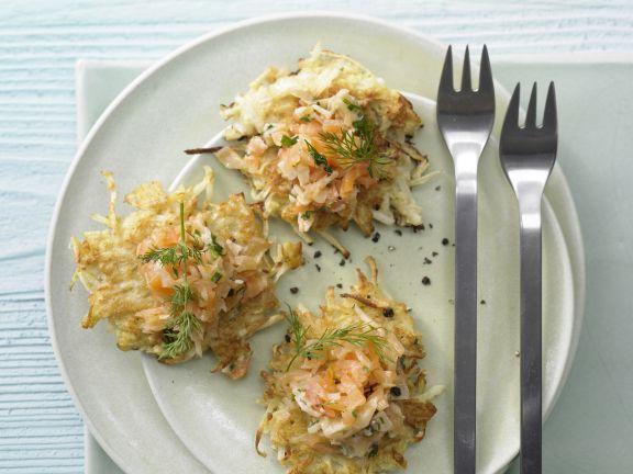 Salmon Tartare on Celery Root Fritters