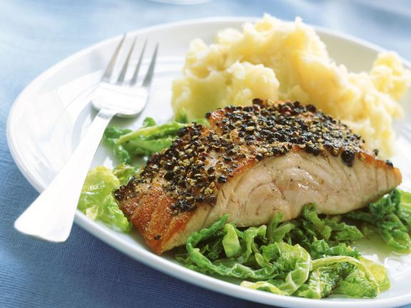 Salmon with Pepper Crust, Celery Puree and Savoy Cabbage