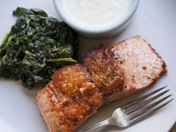 Salmon with Sauteed Spinach and Cauliflower Puree