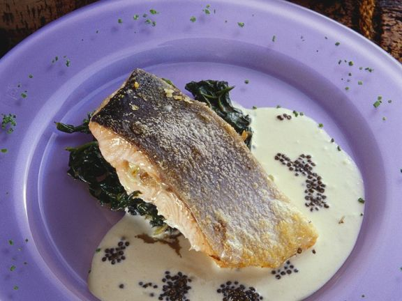 Salmon with Wilted Spinach and Cream Sauce