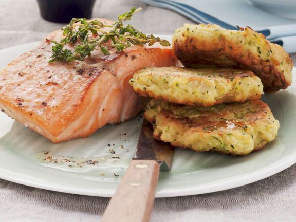 Salmon with Zucchini Fritters