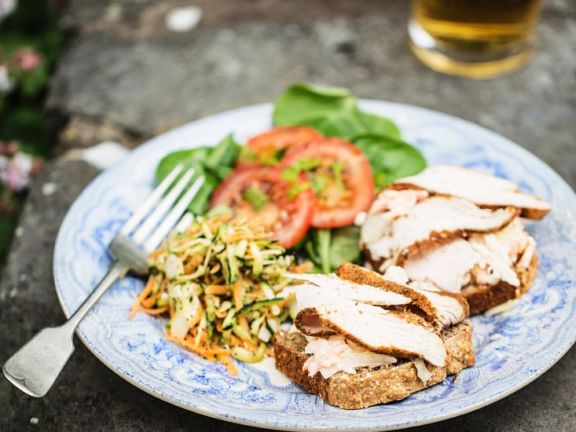 Sandwiches with Sliced Chicken Breast and Carrot-pear Salad