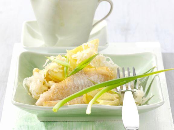 Sauerkraut and Potato Salad with Redfish