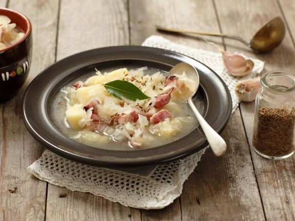 Sauerkraut Soup with Smoked Bacon and Potatoes